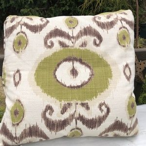 Ikat Pillow Large throw green brown 20""